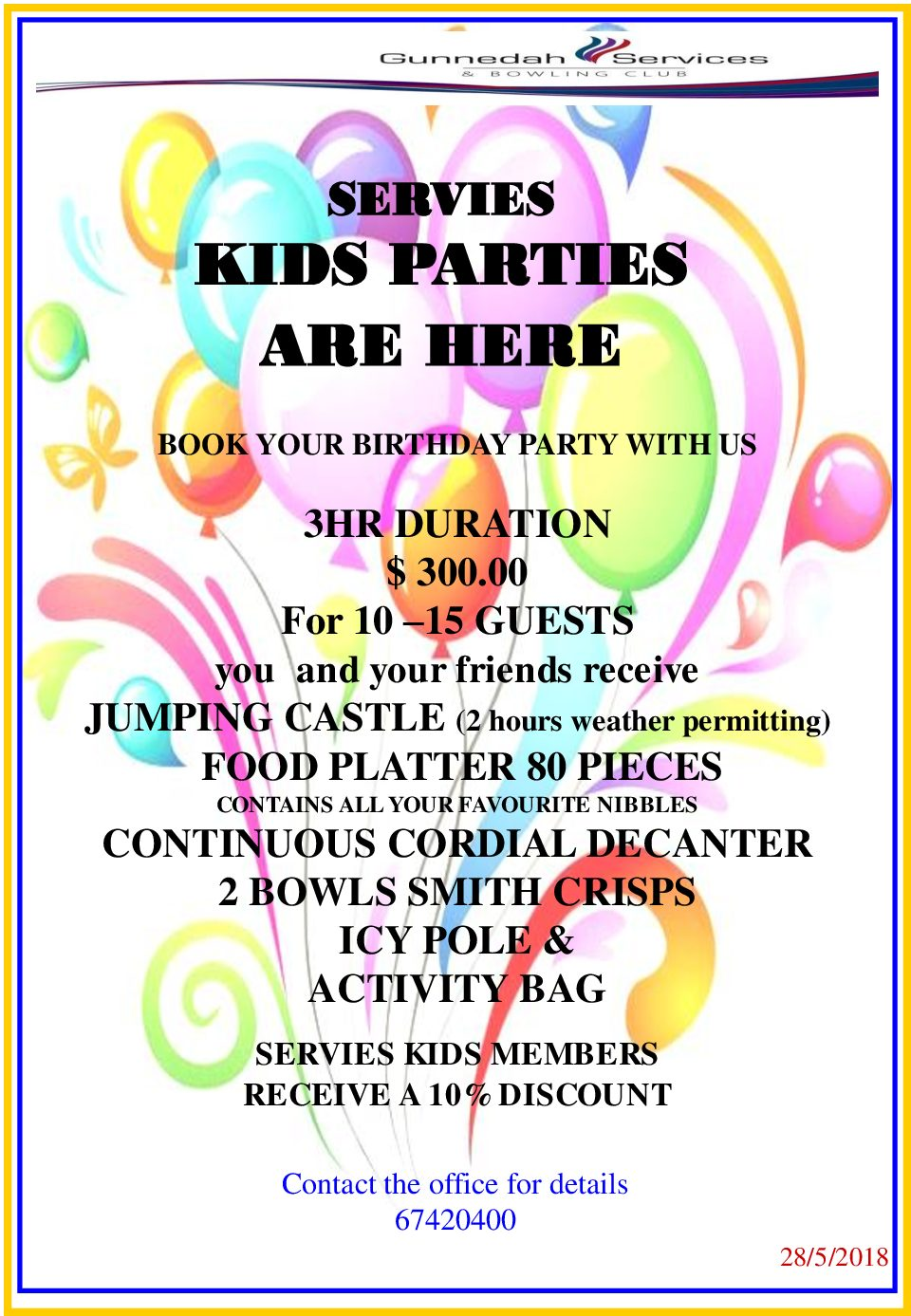 Introducing Servie's Kids Parties!